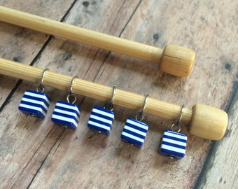 Nautical Blue/White Striped Stitch Markers - Set of 5 for your knitting project bag