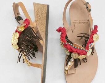 HALF PRICE !Bohemian wedge sandals! 39 US 8-8.5 Boho sandals! Boho wedges