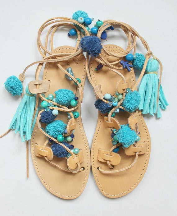 WHOLESALE Boho Sandals/Pompom sandals/ Gypsy sandals