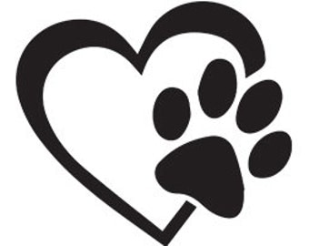 Dog paw print with heart Vinyl Decal Car Truck Van Window Bumper Sticker Dog Paw print