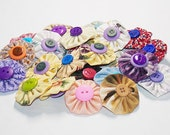 """10 Yo Yos Approx 1 3/4"""" - Assorted Fabrics With Double Buttons"""
