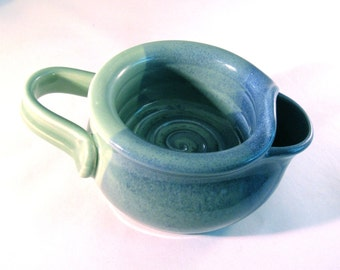Shaving Scuttle - Shave Mug - Lather Bowl - Comfort Hot Shave - Handmade Pottery - Pottersong - Sea foam Green - Denim Jeans Blue
