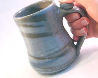 Coffee Mug, Handmade Pottery Tea Cup.  Glazed in Swirly Shades of Stormy Blue
