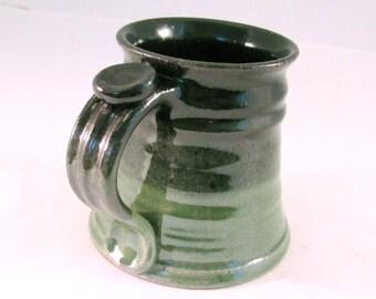 12 oz.Tankard, Stein, Coffee Mug - Handmade Pottery Glazed in Bright Green and Black