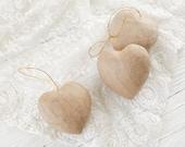 Paper Mache Heart Ornaments - Set Of 3