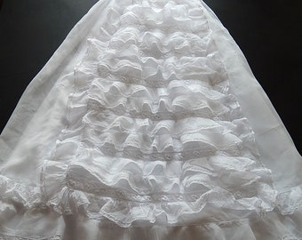 Antique French Handmade Christening Gown with Fine Embroidery and Ruffles