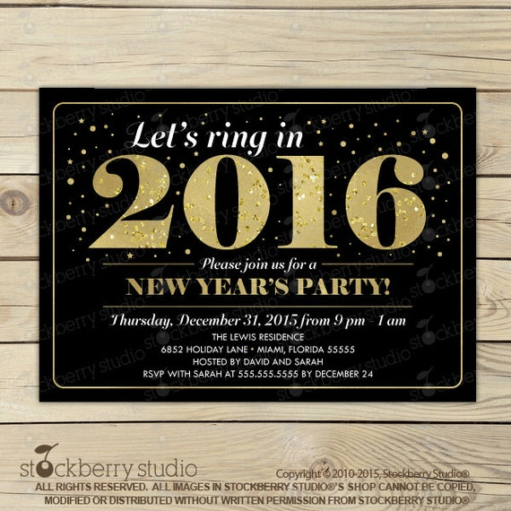 2016 New Years Eve Party Invitations Glitter N Spice