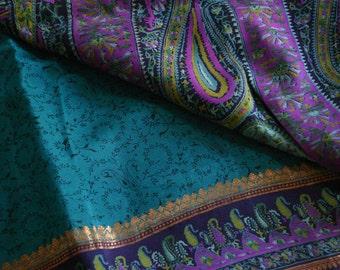 soft foliage and paisleys in blue  - Vintage Silk & Zari Sari (5 m / 6 yds)