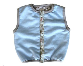 French Terry Baby Vest, Baby Boy Vest, Light Blue and Stripes