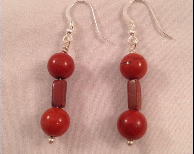 Red Apple Brecciated Flame Jasper Sterling Silver Dangle Drop Earrings