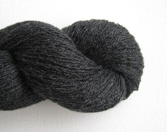 Lace Weight Silk Cashmere Recycled Yarn, Charcoal Gray, Lot 150316