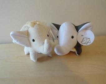 Tiny Stuffed Couple Elephants- Mr. and Mrs. (ivory)