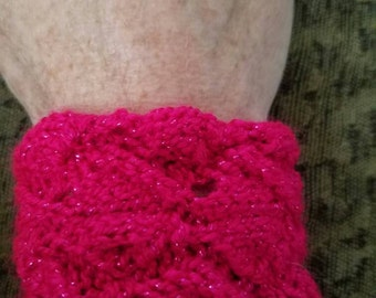 Bright Pink Knitted Cuff