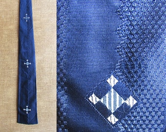Vintage 1950's Blue Square Tie | Blue Tie with Geometric Pattern | Rockabilly, Swing, VLV