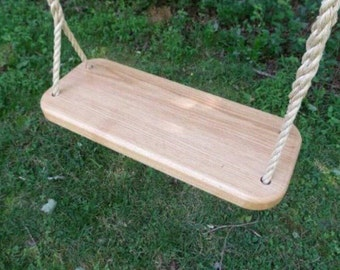 Classic Oak Wood Tree Swing and Rope