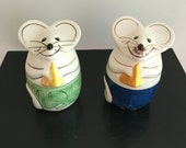 Mouse Shaped Cheese Shaker Pair / Boy Mouse Girl Mouse Houseware / Grated Cheese Storage Serving Shaker Set