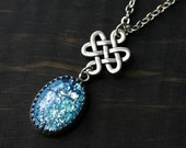Celtic Knot Necklace with Blue Fire Opal