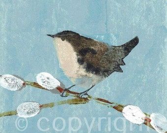 Wren, British made, signed print, potato print, limited edition print, collectable