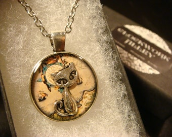 The Traveling Cat - Small Silver Cat over Vintage Map  Pendant Necklace (2062)