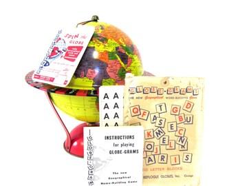 Vintage World Globe Retro c1954 Tin Toy Litho Globe-Grams Game by Replogle