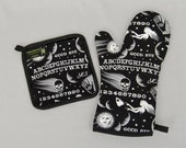 Ouija Board Oven Mitt and Pot Holder, Sets and Singles, Halloween Housewares, Black and White, Occult, Goth Punk Kitchen