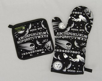 Ouija Board Oven Mitt and Pot Holder, Sets and Singles, Halloween Housewares, Black and White