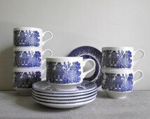 Blue Willow Cups and Saucers | Set of Six by Churchill England | Blue Transferware China | Blue White Decor