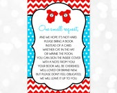 Bring A Book Insert Card - Instead Of A Card One Small Request Dr Seuss Red Blue Thing 1 Thing 2 Book Request DIY Insert PDF (Item #19)