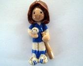 softball ornament handmade from bread dough by judy caron
