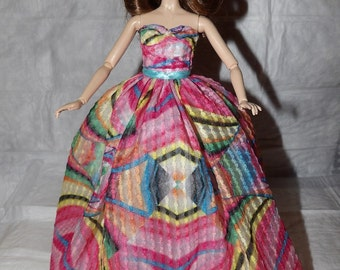 Pink & blue geometric print formal dress and Tulle net slip for Fashion Dolls - ed862