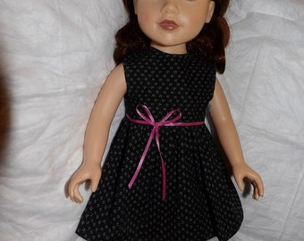 Pretty black & pink floral sleeveless dress for 18 inch dolls - ag283