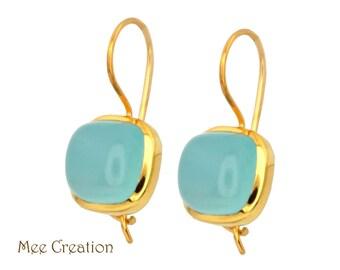EE3020006) Blue Chalcedony Earrings, Sky Blue Chalcedony Cab Earrings, Blue Earrings, Blue Chalcedony Drop Earrings, Topaz Earrings, Bohemia