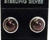 Garnet & Sterling Silver Stud Post Earrings
