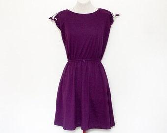 1980s plum day dress | medium/large purple mini dress