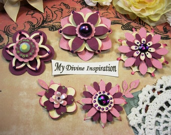 Ivory and Purple Paper Embellishments and Paper Flowers for Scrapbook Layouts Cards Mini Albums and Paper Crafts