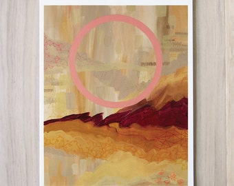 Digital Print - Desert Found - Landscape Circle Geometry warm brown rust surreal Pop magical pink scribbles abstract free flowing acrylic