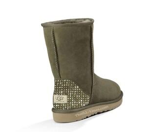 Custom Ugg Boots, Grey Ugg Boots, Classic Short Uggs,Crystal Uggs, Uggs with Crystals, Swarovski Uggs, Strauss Uggs, Gray Uggs, Uggs