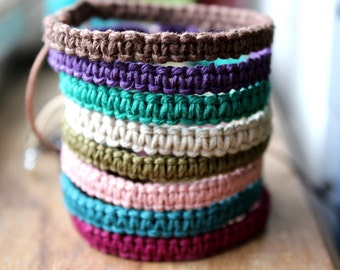 Macrame Hemp Bracelet, Choose Your Color