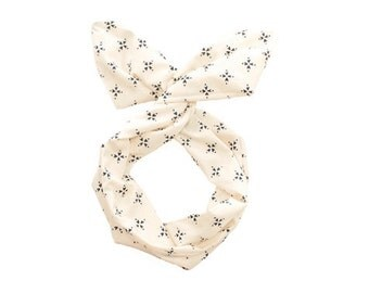 Twist Hair Scarf - Screen-printed Wire Headband - Navy Compass on Cream
