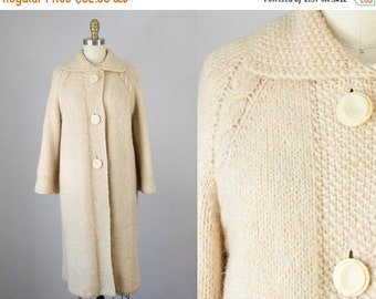 SALE 20% Off 1960s Vintage Cream Wool Cable Knit Sweater Coat. 60s Knit Jacket (S, M)
