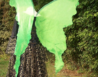 Lifesize Neon Lime Absinthe GREEN FAiRY WiNGS Boho Transformation Butterfly large Costume adult dress up goddess elf muse Renaissance witch