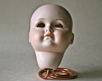Painted Porcelain Bisque Doll Head for Altered Art Doll Making and Repair
