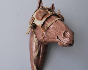 The Blind Leading The Blind  Horse Head Blinder Mount antique horse blinders display