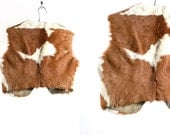 Vintage VTG VG 1970's 70's 1960's Handsewn Handmade Cowhide Fur Vest Retro Country Western Rockabilly Rustic Unisex Vest Cowboy Small