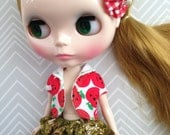 Apply Vest and Tree Skort set with hair clip ~~ for Blythe doll ~~ Three piece SET