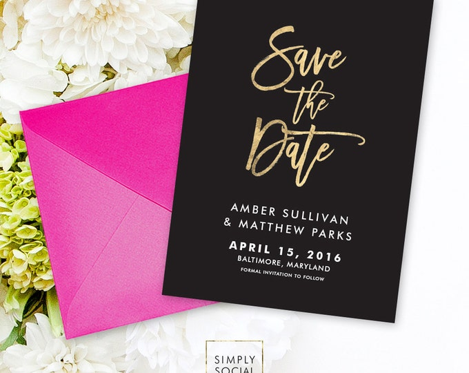 Save the Date Invitation - Black and White Faux Gold Foil Foil Wedding Save the Date Wedding Invitation Black Background Printable
