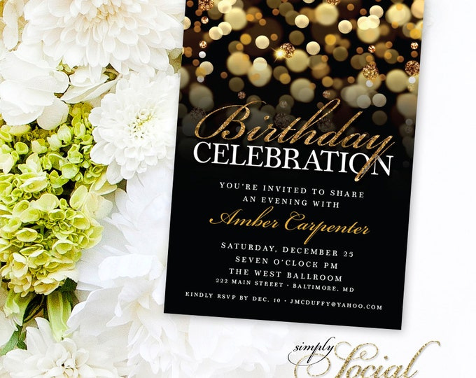 Gold Glitter Birthday Party Invitation with Gold Glitter Bokeh Any Age PRINTABLE