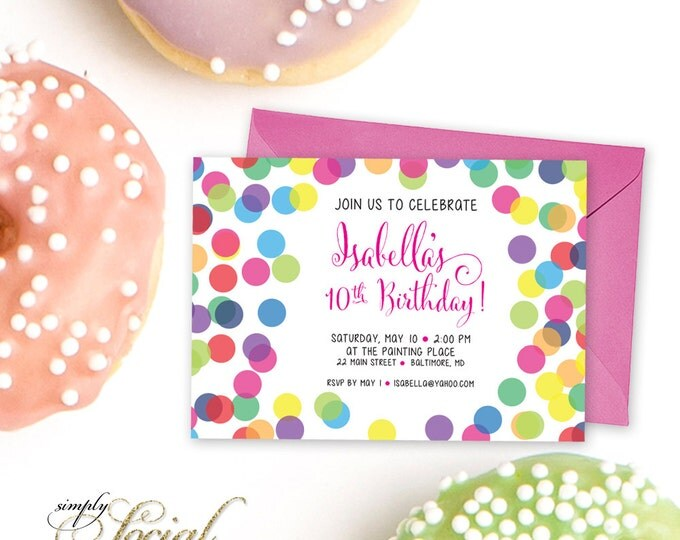 Rainbow Confetti Birthday Party Invitation Printable Tween Party Invite Girl Birthday Party Modern Calligraphy Colorful
