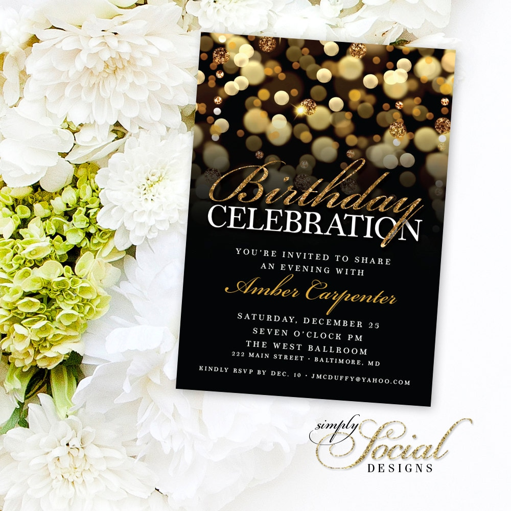 Gold Glitter Birthday Party Invitation With Gold Glitter Bokeh