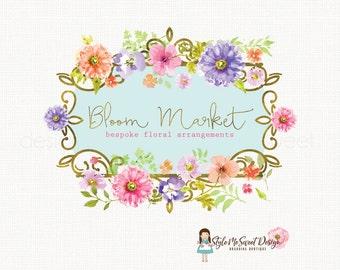 watercolor flower logo florist logo floral logo gold foil logo photography logo event planner logo premade logo design boutique logo design
